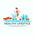 flat design style healthy lifestyle concept vector image vector image