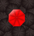 Red Umbrella Against Black Umbrellas vector image vector image