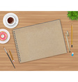 Workspace with notebook and coffee vector image vector image