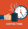 Coffee time coffee break concept Hand holding vector image