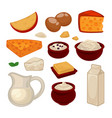 dairy products colorful set isolated on vector image