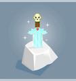 fantasy weapon sword in stone vector image