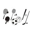 Hockey stick racket tennis baseball badminton vector image
