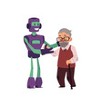 robot helping old senior man with cane to walk vector image