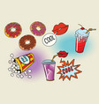sweet fast food set for the movie vector image