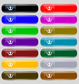 Crown icon sign Set from fourteen multi-colored vector image