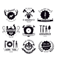 Set of vintage carpentry tool labels and logo vector image