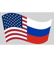 American and Russian flags waving vector image