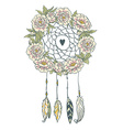 Boho style background Peonies feathers and leaves vector image