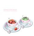 cupcake and chocolate strawberry mousse in vector image