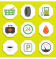 Gas repair station with store icons vector image