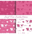 Set of Seamless Backgrounds with Hummingbird vector image