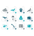stylized airport and travel icons vector image