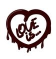 Realistic chocolate heart splash love is vector image