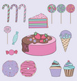 sweets colorful set for design vector image