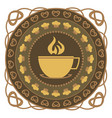 hot drink and cake round ornament vector image vector image