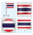 Thailand flag - sticker button label flagstaff vector image