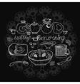 Vintage chalk morning tea background over vector image vector image