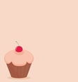 Cherry cupcake on pink background vector image vector image