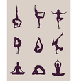 yoga poses silhouettes vector image