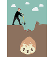 Businessman digging a ground to find a treasure vector image