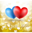 blue and red heart symbols vector image vector image