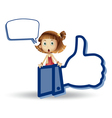 Cartoon girls Like Thumb vector image vector image