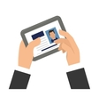 businessman holding tablet with cv on screen icon vector image