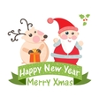 Cute Christmas card with Santa and deer vector image