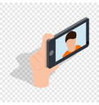 guy taking selfie photo on smartphone isometric vector image