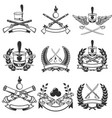set of ancient weapon emblems muskets sabers vector image
