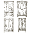 set of hand drawn wardrobes Interior vector image
