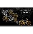 New Year 2017 gold bike celebration background vector image