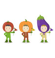 vegetable head child character tomato pumpkin vector image