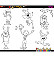 kids characters coloring page vector image