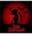 Silhouette of death on a red background vector image