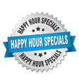 happy hour specials 3d silver badge with blue vector image