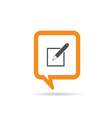 square orange speech bubble with pencil vector image