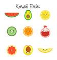 kawaii fruit collection icon vector image