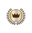 Label with crown and laurel wreath icon vector image