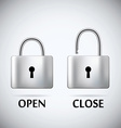 Locked and unlocked Padlock steel text open close vector image