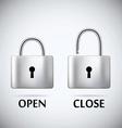 Locked and unlocked Padlock steel text open close vector image