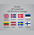 northern europe countries flags collection vector image