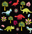 pattern with Cute Cartoon Dinosaurs vector image