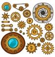 Set of steampunk gears screws and cogwheels in vector image