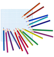 colored pencils on a squared paper vector image vector image