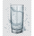 Transparent glass with water splashes vector image