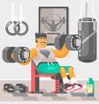 strong bodybuilder sportsman weightlifter doing bi vector image