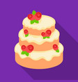 cake with roses icon in flate style isolated on vector image