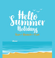 travel banner with beach sea gulls and ship vector image vector image